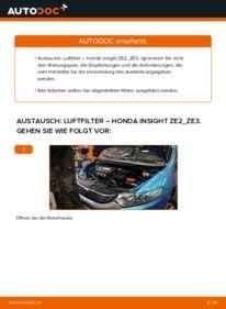 Wie der Wechsel durchführt wird: Luftfilter 1.3 Hybrid (ZE28, ZE2) Honda Insight ZE2/ZE3 tauschen