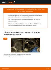 Wie der Wechsel durchführt wird: Bremsbeläge 2.0 TDI Passat B6 Variant tauschen