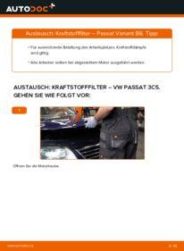 Wie der Wechsel durchführt wird: Kraftstofffilter 2.0 TDI Passat B6 Variant tauschen