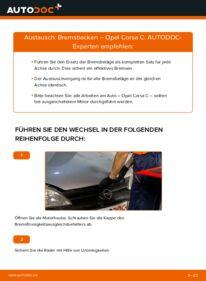 Wie der Wechsel durchführt wird: Bremsbacken 1.2 (F08, F68) Opel Corsa C tauschen