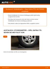Wie der Wechsel durchführt wird: Stoßdämpfer 2.0 DTI 16V (F75) Opel Zafira A tauschen