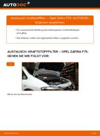 Wie der Wechsel durchführt wird: Kraftstofffilter 2.0 DTI 16V (F75) Opel Zafira A tauschen