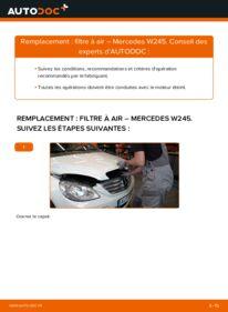 Comment effectuer un remplacement de Filtre à Air sur B 180 CDI 2.0 (245.207) Mercedes W245