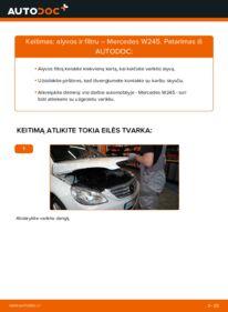 Kaip atlikti keitimą: B 180 CDI 2.0 (245.207) Mercedes W245 Alyvos filtras