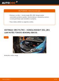 Kaip atlikti keitimą: 1.3 Hybrid (ZE28, ZE2) Honda Insight ZE2/ZE3 Oro filtras