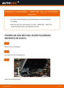 Wie der Wechsel durchführt wird: Kraftstofffilter 523i 2.5 BMW E39 tauschen