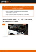 Comment changer : filtre à air sur Audi A3 8PA - Guide de remplacement