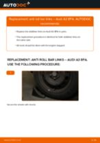 rear and front Anti roll bar links AUDI A3 Sportback (8PA) | PDF replacement manual