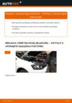 Kako zamenjati avtodel vzmetna noga (blazilnik) spredaj na avtu VW Polo 5 – vodnik menjave