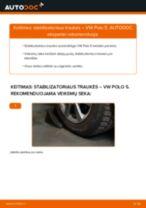 Kaip pakeisti VW Polo 5 stabilizatoriaus traukės: priekis - keitimo instrukcija