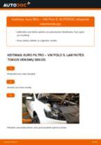 Kaip pakeisti VW Polo 5 kuro filtro - keitimo instrukcija