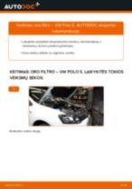 Variklio oro filtras keitimas: pdf instrukcijos VW POLO