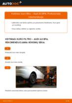 Kaip pakeisti Audi A3 8PA kuro filtro - keitimo instrukcija