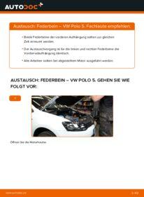 Wie der Wechsel durchführt wird: Stoßdämpfer 1.6 TDI VW Polo 5 Limousine tauschen