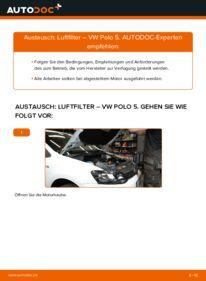 Wie der Wechsel durchführt wird: Luftfilter 1.6 TDI VW Polo 5 Limousine tauschen