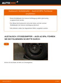 Wie der Wechsel durchführt wird: Stoßdämpfer 2.0 TDI 16V Audi A3 8P tauschen