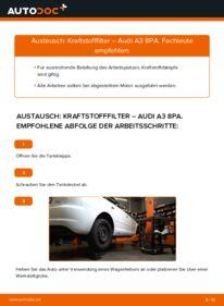 Wie der Wechsel durchführt wird: Kraftstofffilter 2.0 TDI 16V Audi A3 8P tauschen