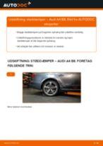 Hvordan skifter man og justere Fjäderben AUDI A4: pdf manual