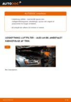 Udskift luftfilter - Audi A4 B8   Brugeranvisning