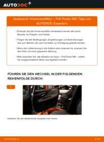Wie der Wechsel durchführt wird: Innenraumfilter 1.3 D Multijet Fiat Punto 199 tauschen