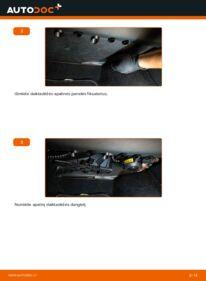 Kaip atlikti keitimą: 1.9 TDI Octavia 1z5 Oro filtras, keleivio vieta