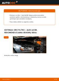 Kaip atlikti keitimą: 2.0 TDI Audi A4 B8 Sedanas Oro filtras