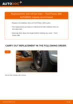 PDF replacement tutorial: Sway bar links FORD Fiesta Mk6 Hatchback (JA8, JR8) rear and front
