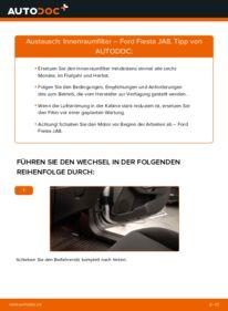 Wie der Wechsel durchführt wird: Innenraumfilter 1.25 Ford Fiesta Mk6 tauschen