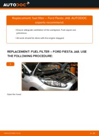 How to carry out replacement: Fuel Filter on 1.25 Ford Fiesta Mk6