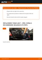 PDF replacement tutorial: Rear lights OPEL Corsa D Hatchback (S07) left and right
