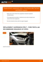 How to change front suspension strut on Ford Fiesta JA8 – replacement guide