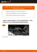 Kuinka vaihtaa moottoriöljy ja öljynsuodatin Opel Corsa D-autoon – vaihto-ohje