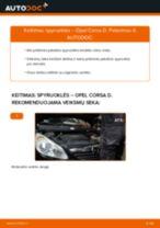 OPEL CORSA Rankinio Stabdžio Trosas keitimas: nemokamas pdf