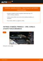 Kaip pakeisti Opel Corsa D stabdžių trinkeliu: priekis - keitimo instrukcija