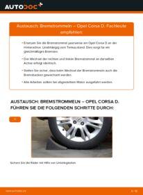 Wie der Wechsel durchführt wird: Bremstrommel 1.3 CDTI (L08, L68) Opel Corsa D tauschen