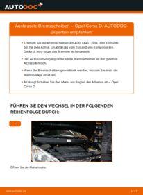 Wie der Wechsel durchführt wird: Bremsscheiben 1.3 CDTI (L08, L68) Opel Corsa D tauschen