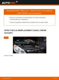 Comment effectuer un remplacement de Filtre à Air sur 1.3 CDTI (L08, L68) Opel Corsa D