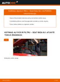 Kaip atlikti keitimą: 1.9 TDI Seat Ibiza 6l1 Alyvos filtras