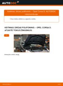 Kaip atlikti keitimą: 1.3 CDTI (L08, L68) Opel Corsa D V formos rumbuotas diržas