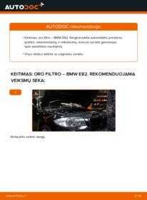 Kaip atlikti keitimą: 120d 2.0 BMW E82 Oro filtras