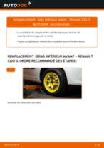 arrière et avant Bras de suspension RENAULT Clio III 3/5 portes (BR0/1, CR0/1) | PDF tutoriel de remplacement