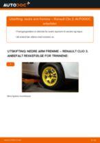 Hvordan bytte og justere Bærearm RENAULT CLIO: pdf håndbøker