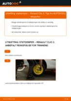 Hvordan bytte og justere Fjærbein RENAULT CLIO: pdf håndbøker