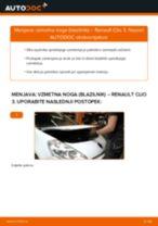 Kako zamenjati avtodel vzmetna noga (blazilnik) spredaj na avtu Renault Clio 3 – vodnik menjave