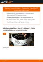 Kako zamenjati avtodel zavorni diski spredaj na avtu Renault Clio 3 – vodnik menjave