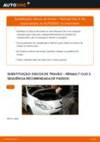 Tutorial passo a passo em PDF sobre a substituição de Discos de Travão no RENAULT CLIO III (BR0/1, CR0/1)
