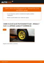Hogyan cseréje és állítsuk be Lengőkar RENAULT CLIO: pdf útmutató