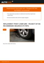 Fitting Trailing arm PEUGEOT 307 SW (3H) - step-by-step tutorial