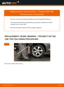 How to carry out replacement: Wheel Bearing on 1.6 HDI 110 Peugeot 307 SW