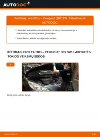 Kaip atlikti keitimą: 1.6 HDI 110 Peugeot 307 SW Oro filtras
